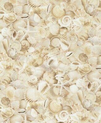 Nautical Beach Fabric - Sand Beige Packed Seashell - Timeless Treasures YARD (Nautical Treasures)