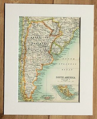 c.1900 Antique Small Map - South America Brazil Peru Ecuador Colombia - Mounted