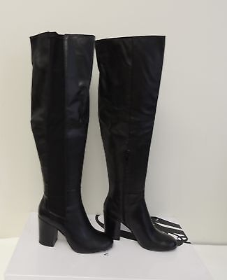 NEW Nine West Shoshone Over the Knee Boot Black Leather