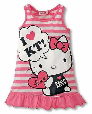 Hello Kitty Nightgown - Girls Hello Kitty Pink Stripe Summer Night Gown Lounger Sleep Dress Ages 1 to 5
