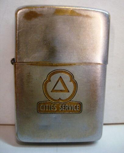 Cities Service Oil CITGO Gas Fuel Zippo Lighter Embossed Nickel Brass Logo Vtg