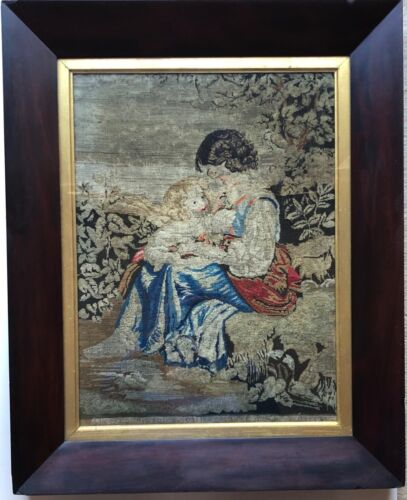 Antique sampler. Needlepoint Sampler.Girl and child scene.Beautiful wood frame