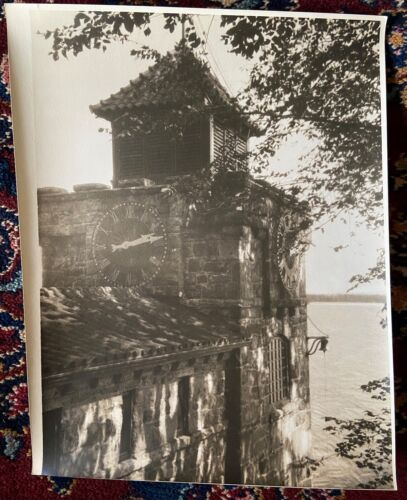 1920s Photograph Sepia THE TOWERS Singer Castle Dark Island UP CLOSE CLOCK TOWER