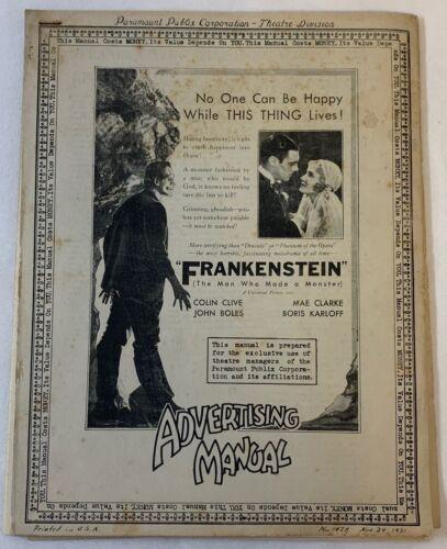 1931 Paramount-Publix Advertising Manual ~ FRANKENSTEIN ~ Boris Karloff