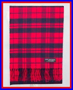 100-Cashmere-Scarf-Red-Navy-Blue-Check-Plaid-Scotland-Ghram-Flannel-Wool-ZS05