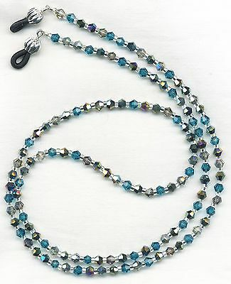 Shining CRYSTAL MIX Blues~Silvers Eyeglass~Glasses Holder Necklace Chain CUSTOM