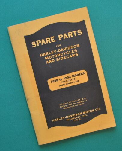 1928-32 Harley Spare Parts Catalog Motorcycle Manual Book DL FD JE JD VL A B C