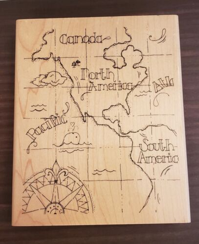 Rubber Stamp Mapped Background North South America Canada Travel Map Direction - $9.99