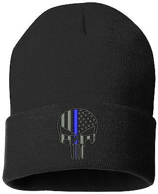 Punisher Blue Line Cuffed Knit Hat-11075 ()