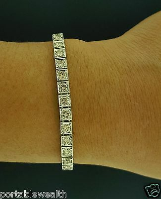 Antique Vintage Straight Line 40 Round Diamond Bracelet Platinum Fancy Champane