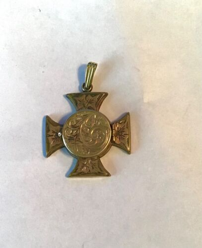 ANTIQUE ROLLED GOLD MALTESE CROSS LOCKET PENDANT FOB MOURNING JEWELRY