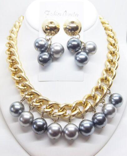 Retro Grey Faux Pearl 18 in. Fashion Necklace & Pierced Earrings ... #255