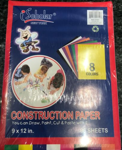 "Scholar (#30096) Construction Paper 9"" x 12"", 96 Sheets, 8 Colors"
