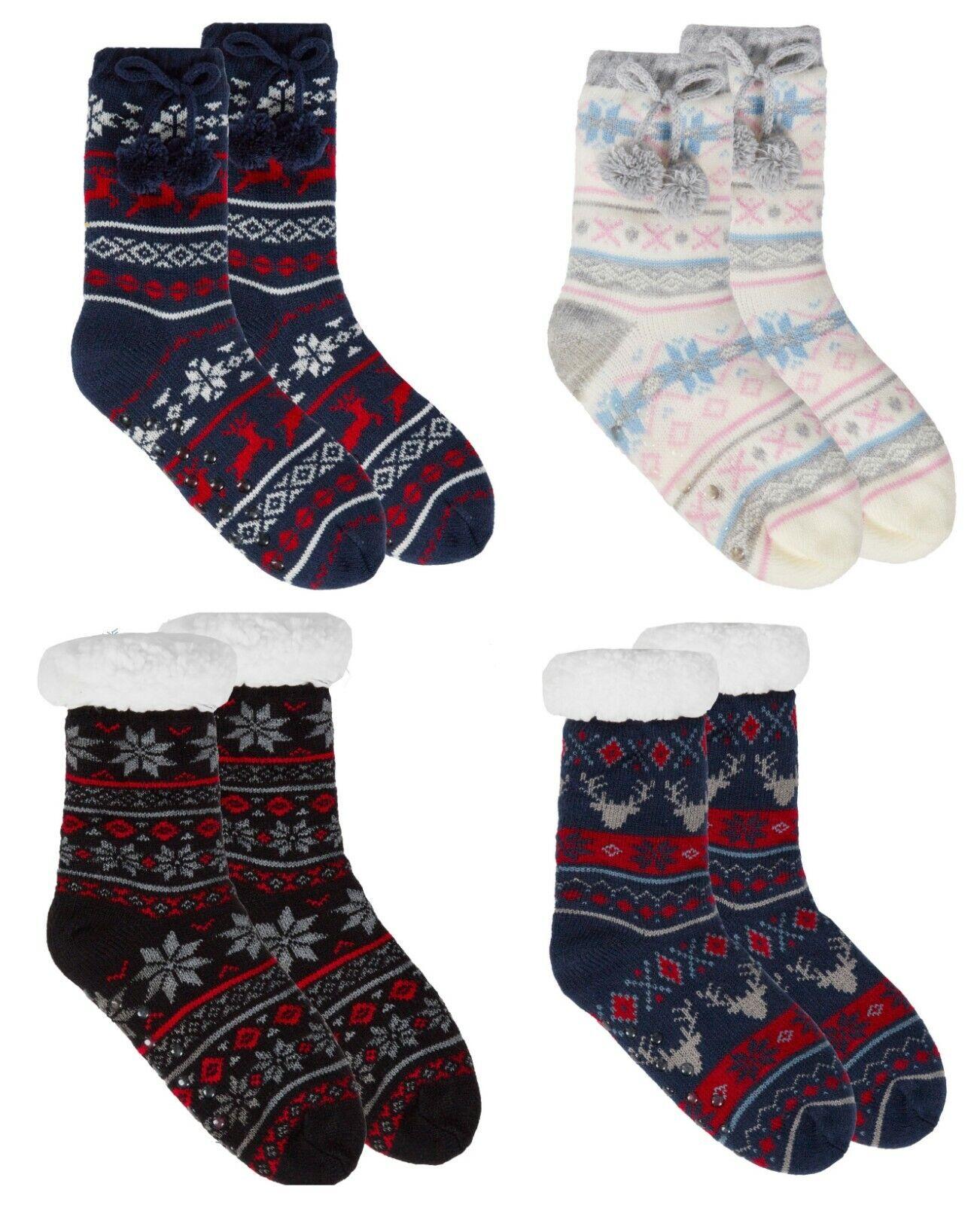 Kids Boys Girls Knitted Slipper Socks Fleece Lined No Slip S