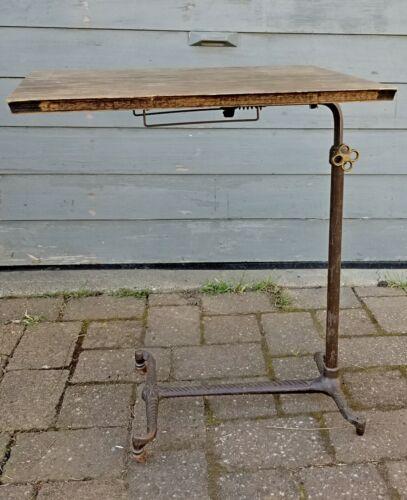 Antique Vtg Medical Dental Instrument Side Table Cast Iron Industrial Steampunk