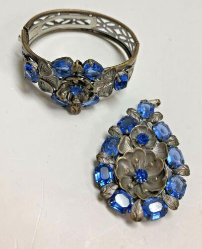 Stunning Antique CZECHOSLOVAKIA Blue Hinged Flower Bracelet & Teardrop Pendant