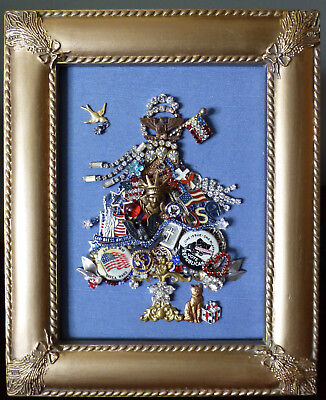 VTG JEWELRY TREE PATRIOTIC USA FRAMED ART RHINESTONE CAT FLAGS USA LIBERTY EAGLE