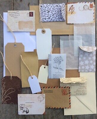 Envelopes & Tags Pack Vintage Natural Theme Scrapbooking Junk Journal 20 Piece