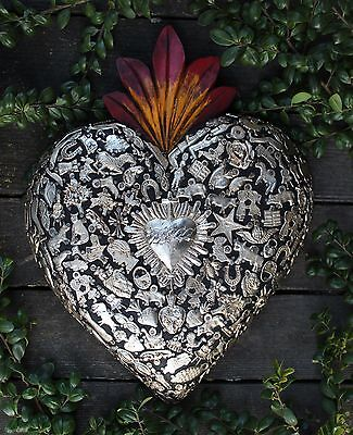 Large Hand Carved Wood Heart, Milagros Miracle Ex Voto Folk Art Michoacán Mexico