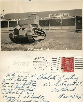 Ft Monmouth N J  Tank At Service Club 1930 Real Photo Postcard Antique Rppc