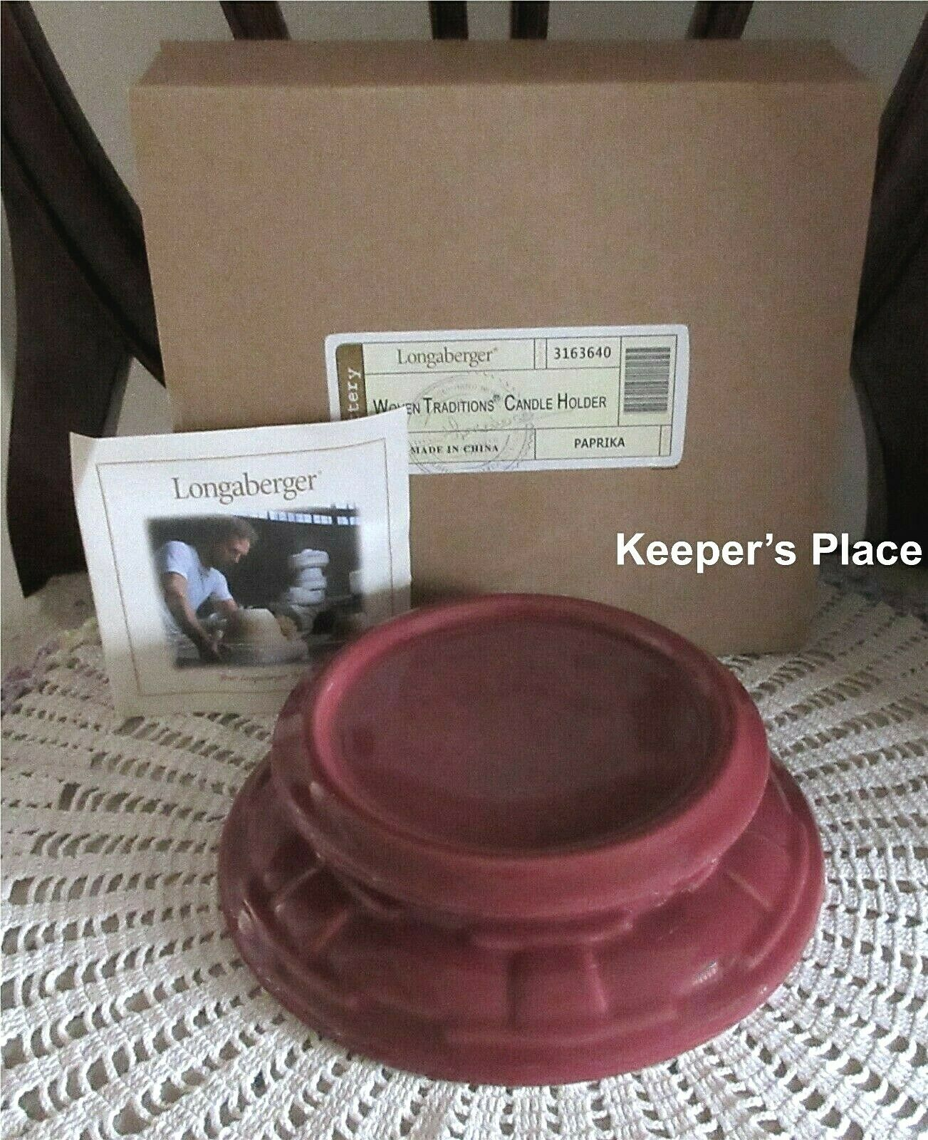Longaberger Woven Traditions Candle Holder Paprika Pottery 3163640 New In Box