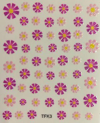 Nail Art 3D Decal Stickers Glittery Pastel Pink & Dark Purple Flowers TFK3 (Purple Nail Art)