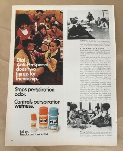 Dial deodorant 1972 orig vintage ad 1970s retro print art photo friendship