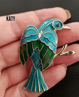 Vintage Style Gold Tone Green Large Bird Blue Enamel Brooch Broach Pin Gift
