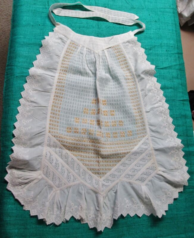 Antique Linen Hostess Apron Lacy Ruffle Embroidered Accents