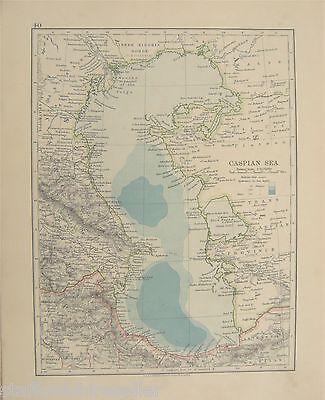 Vintage c1913 Map Caspian Sea by W AK Johnson