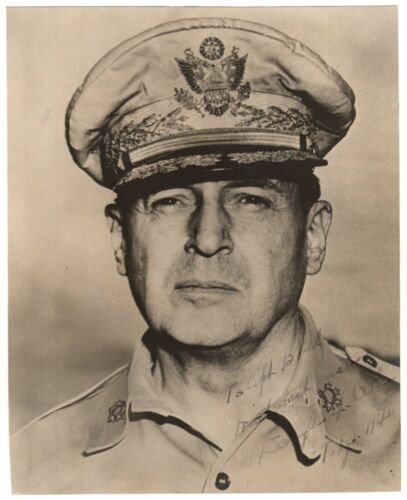 Douglas MacArthur - Photograph Signed - Inscribed to Colonel Who Fought With Him
