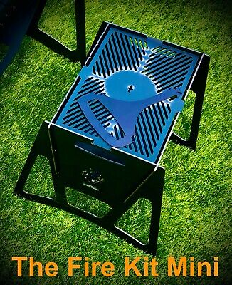 A unique folding flat pack mini BBQ fire pit grill- camping fishing charcoal