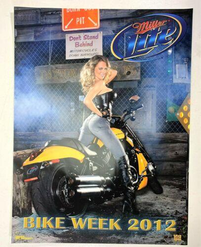 Vintage Sexy Girl on Harley Miller Lite Beer Poster Bike Week Daytona Beach 2012