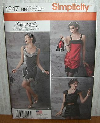 Womens/Misses Flapper Dress Costume Sewing Pattern/Simplicity 1247/SZ 6-12/UCN