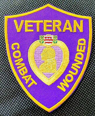 Combat Wounded Purple Heart Ribbon Honor Award Embroidered Biker Patch