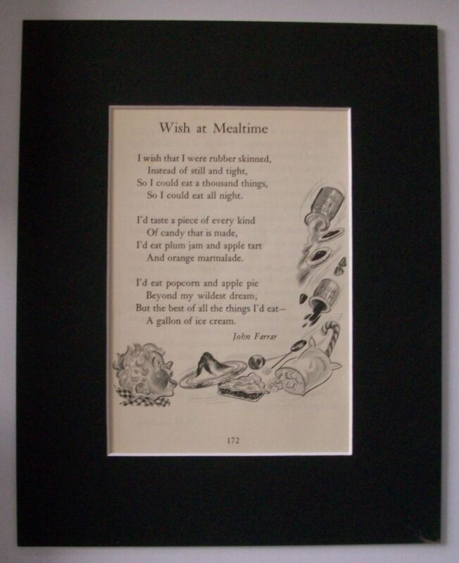 Print Wish At Mealtime Poem John Farrar M Klinke Scott Bookplate 1947 Matted