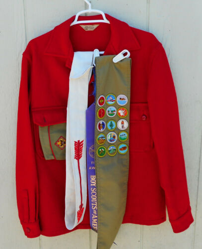 Vtg. Boy Scouts of America Official Order of the Arrow Red Wool Jacket W/Extras
