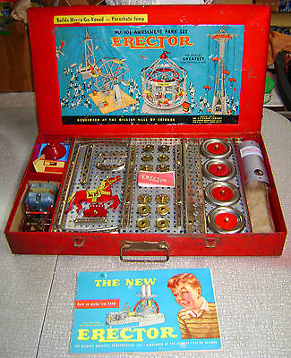 1950s GILBERT ERECTOR 10 1/2 'AMUSEMENT PARK' SET--ORGANIZED FOR DISPLAY--AS-IS