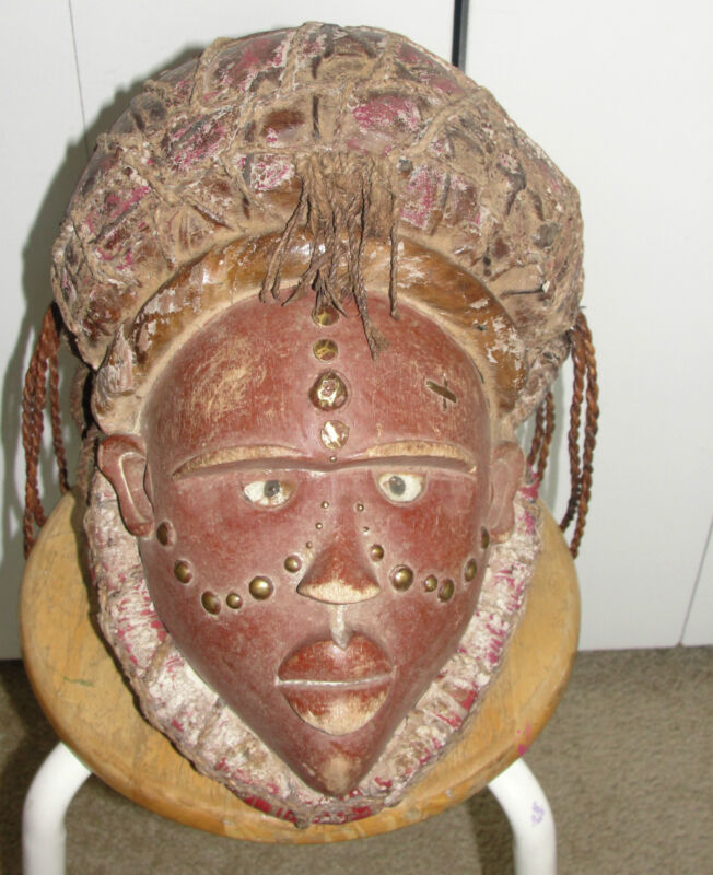 Very Old African Bakongo Power Fetish Fine Mask Headdress Congo Africa Statue