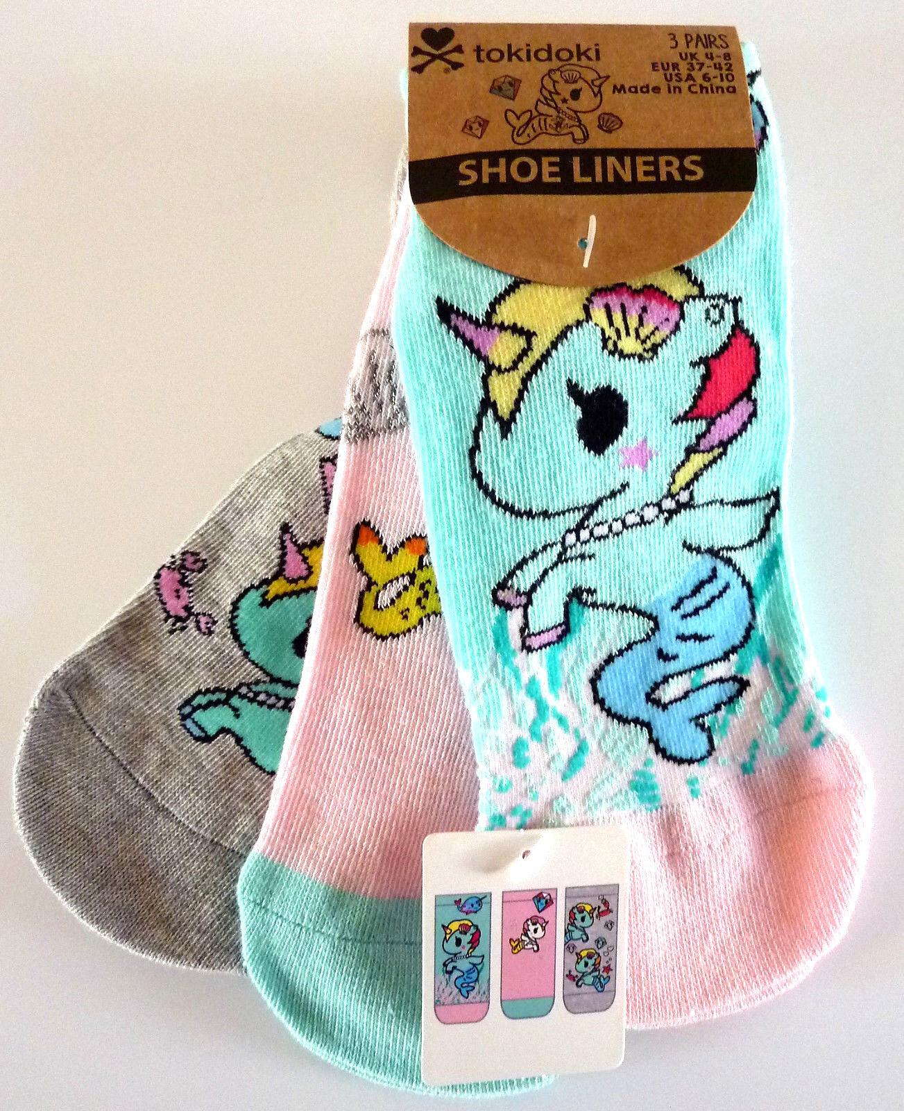 3 Paar Tokidoki Damen Socken Sneaker Set Einhorn Meerjungfrau 37-38-39-40-41-42