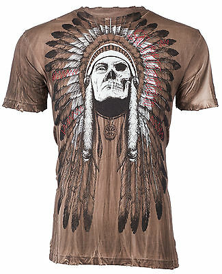 Affliction Men T Shirt Tribe Indian Skull Tattoo Fight Biker Mma Ufc S 4Xl  48 B