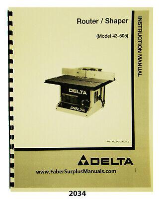 Delta Routershaper 43-50543-506 43-513 Instruct Parts Manual 2034