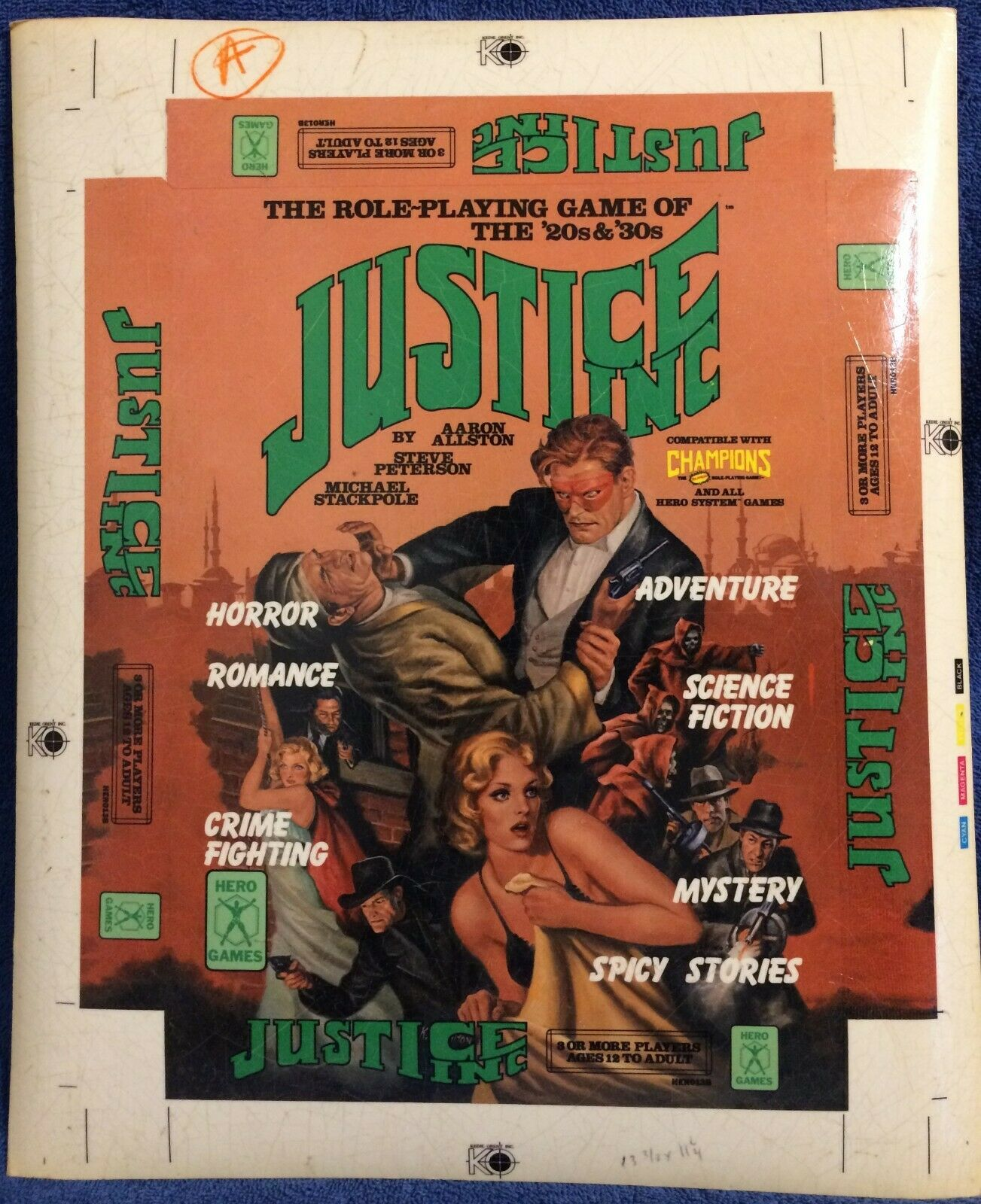 JUSTICE INC. - Hero Games System Promotional Material - Box Art Proof  - $15.99