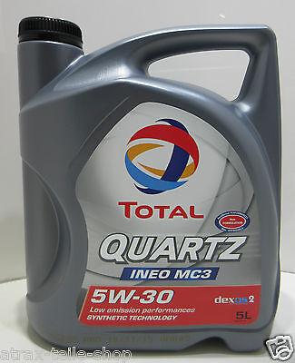 (5,54€/Liter) 5W30 5 Liter Total Motoröl Quartz Ineo MC3 ACEA C3 API SN/CF Opel (Pkw-motoren)