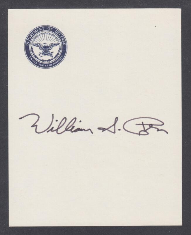 William Cohen, US Senator, Congressman,Secretary of Defense, signed 4x5 DoD card