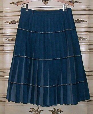 50s Skirt (Vintage 50s Sportrite Blue Plaid Wool Reversible Skirt)