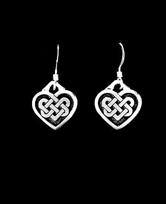Celtic Heart Knot Dangle Charm Earrings, Sterling Silver French Hook Ear Wire