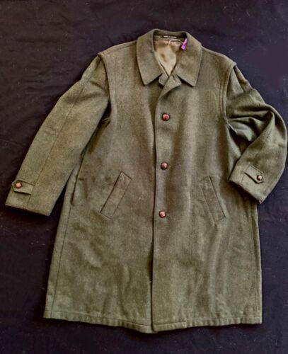 Steinbock vintage Tyrolean loden green wool overcoat/cape-L-trachten