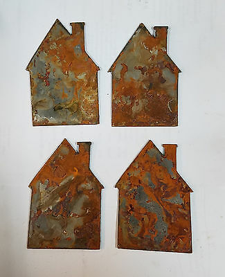 Lot Of 4 Cabin House Home Shapes 3 Rusty Metal Vintage Ornament Craft Diy Sign