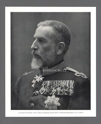 Fotodruck Carol I. König von Rumänien WWI 1914 Prinz v. Hohenzollern-Sigmaringen